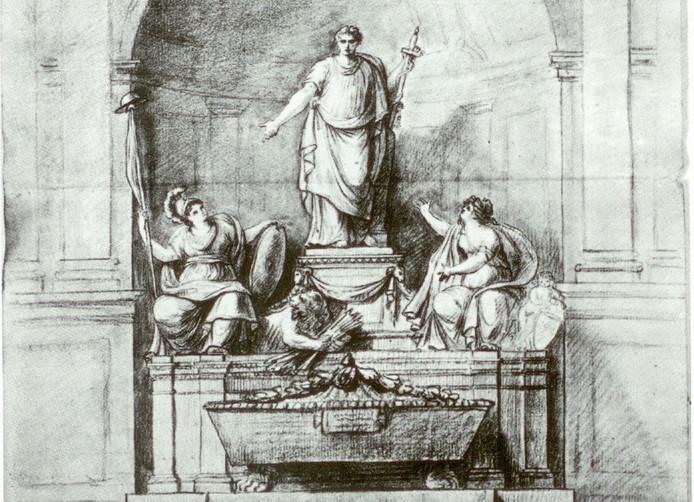 Met dit ontwerp ging Giuseppe Ceracchi in 1785 aan de gang. Vier jaar later had hij het voltooid. foto Villa Borghese