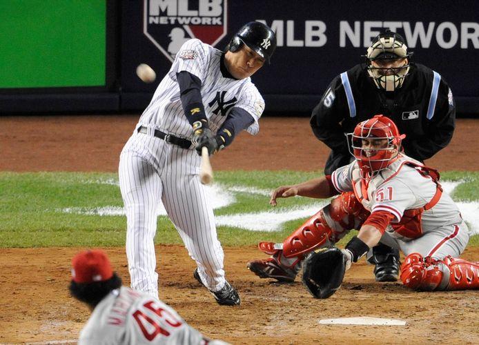 Hideki Matsui in actie voor NY Yankees.