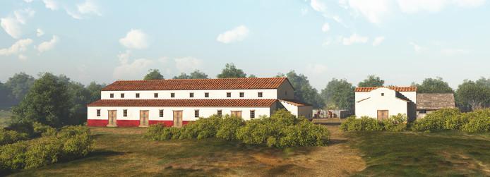 Impressie van de villa en het badhuis uit de tweede eeuw aan de Schatkuilsestraat in Overasselt. Tekening: Mikko Kriek