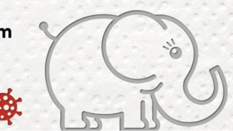 De nieuwe coronapostzegel van Oostenrijk op wc-papier gedrukt met hét symbool om afstand te houden: de olifant. Beeld Österreichische Post AG