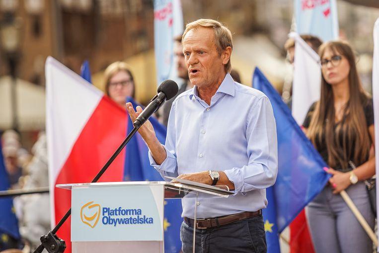 Oud-EU-topman Tusk spreekt afgelopen maandag in Gdansk, na zijn terugkeer uit Brussel.  Beeld Getty