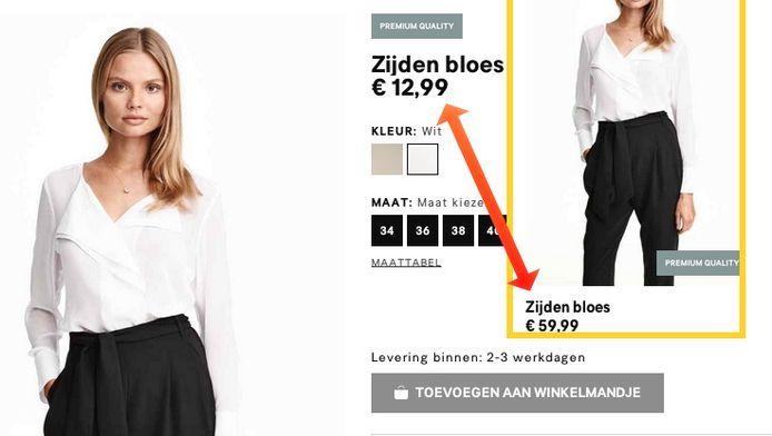 Een zijden bloes van bijna net geen 60 euro kost opeens 12,99 euro.