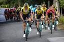 Robert Gesink op kop voor klassementsleider Roglic (in het rood) tijdens de Vuelta.