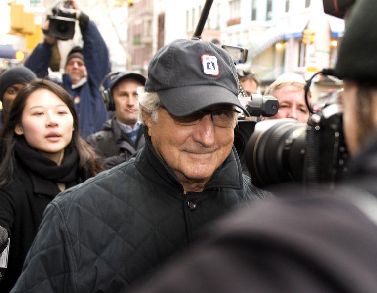Bernie Madoff - hier nog op vrije voeten - in december 2008. Beeld AFP