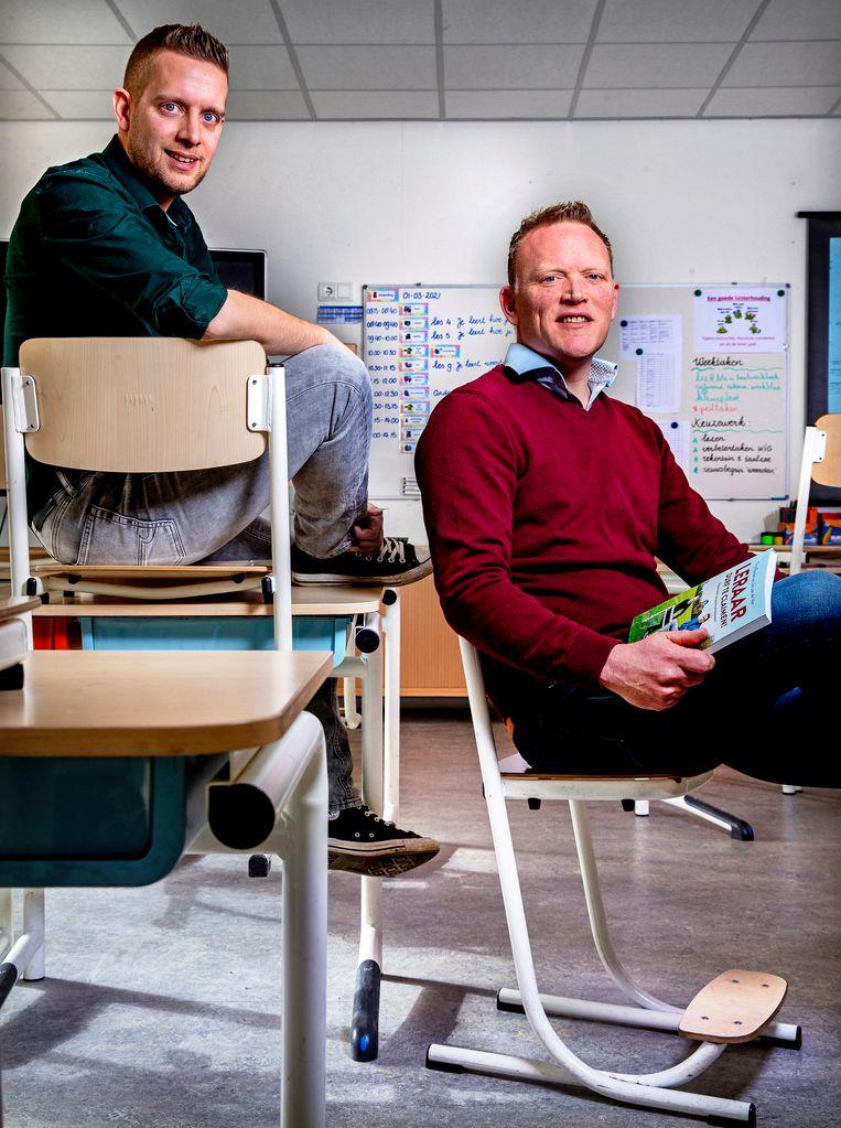 Leraren Jan van de Ven (links) en Tijs Roovers. Beeld Pim Ras