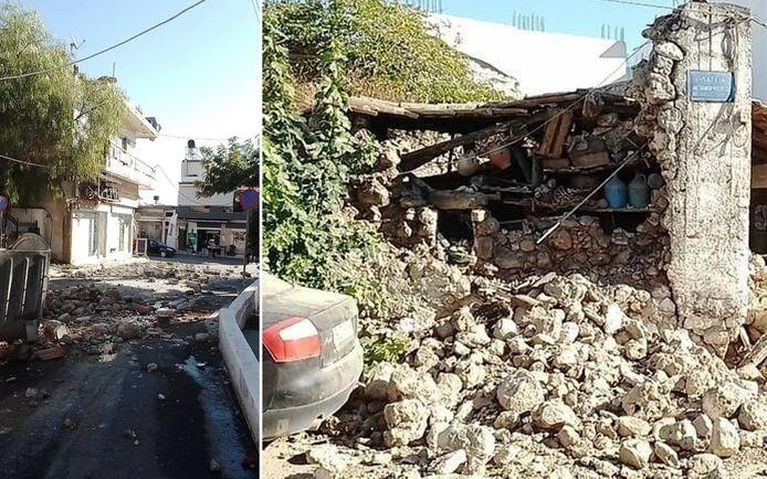 Getuigen stuurden het EMSC de eerste beelden door van de beschadigingen door de beving op Kreta.