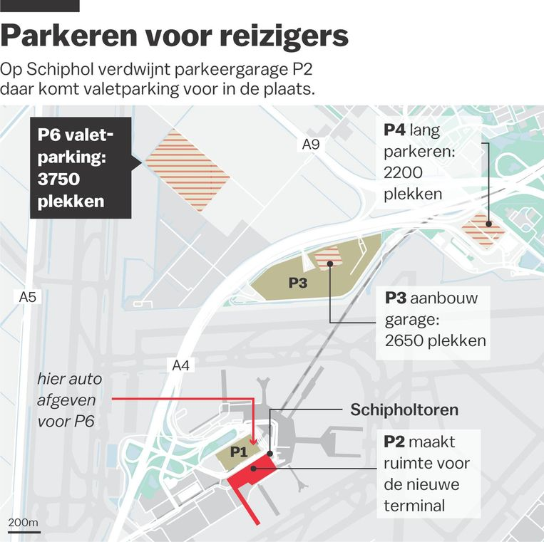 Het nieuwe P6 voor valetparking heeft ruimte voor 3750 auto's Beeld Laura van der Bijl
