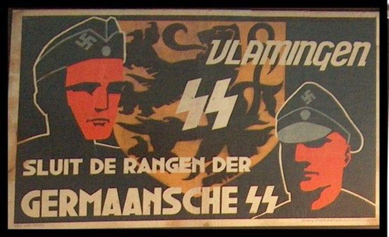 Rekruteringsaffiche voor het Vlaams Legioen zoals dat in de Tweede Wereldoorlog bestond Beeld RV
