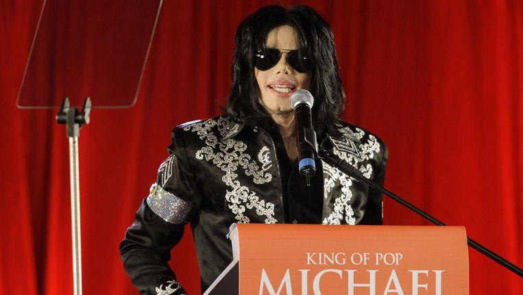 Michael Jackson bij aankondiging van de tournee die nooit doorging. Beeld ap