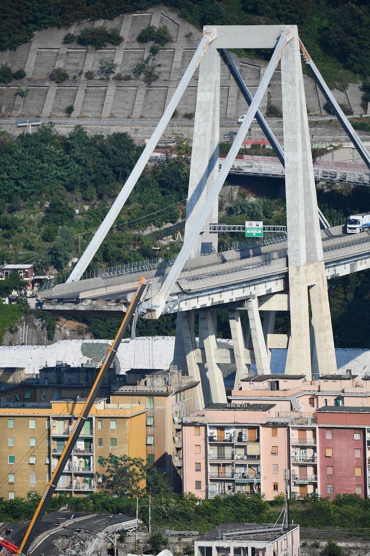 De Morandi-brug in de Italiaanse stad Genua. Beeld EPA