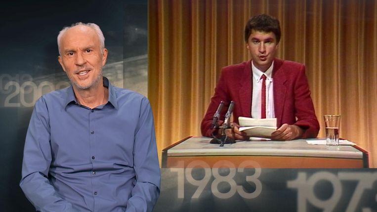 Mark Uytterhoeven vroeger – in 'Sportweekend' – en nu – bij een terugblik op het 60-jarige sportprogramma. Beeld VRT