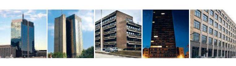 Van links naar rechts: de Financietoren, het RAC, het AC Ter Plaeten, het Centre Albert, Paleizenstraat Beeld UNKNOWN