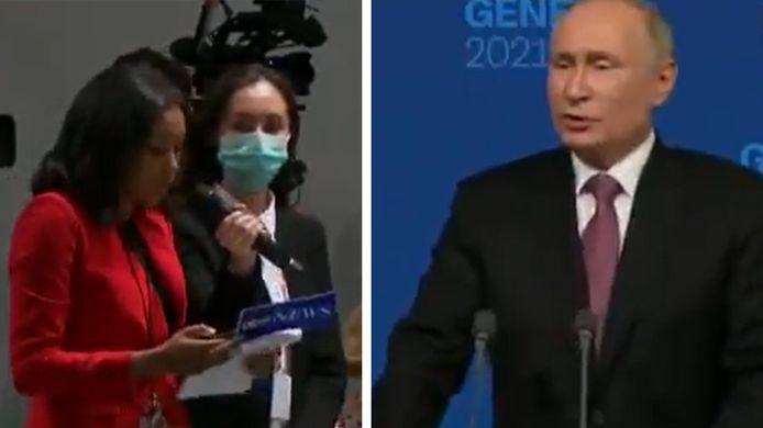 La journaliste américaine Rachel Scott et Vladimir Poutine