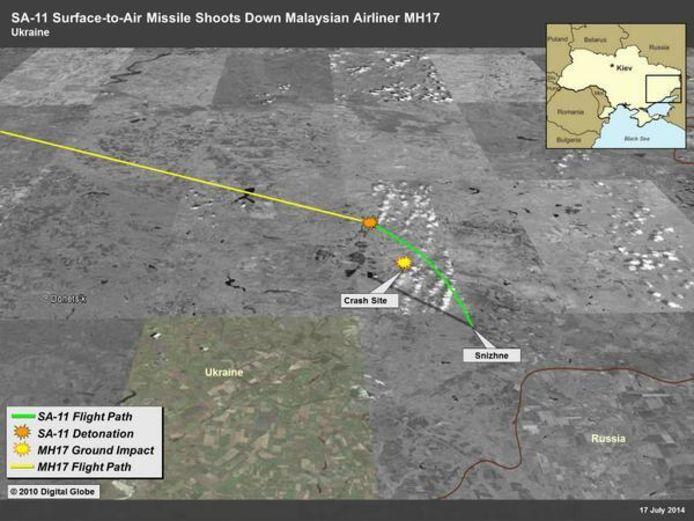 De VS gaf in 2014 een beeld vrij waarop ze het pad van de BUK raket aangaf. Nabestaanden vragen Amerika nu ook de onderliggende beelden vrij te geven.