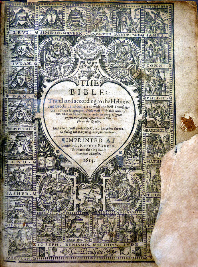 De titelpagina van de gestolen en teruggevonden Geneefse Bijbel.