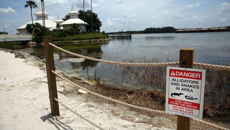Nieuwe waarschuwingsbordjes rond de Seven Seas Lagoon in Disneyworld. Beeld AFP