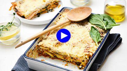 Popeye-powerlasagne met spinazie, zalm en zoete aardappel