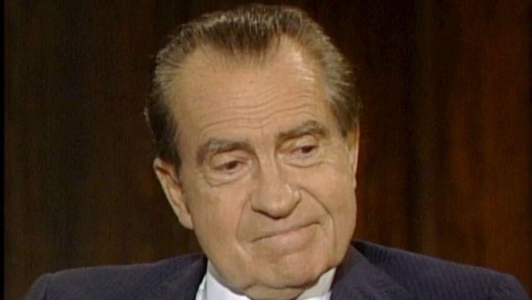 Nixon tijdens het interview met Frank Gannon. Beeld AP