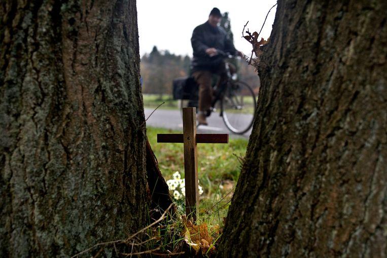 Gedenksteen voor verkeersslachtoffer in Dwingeloo. Beeld null
