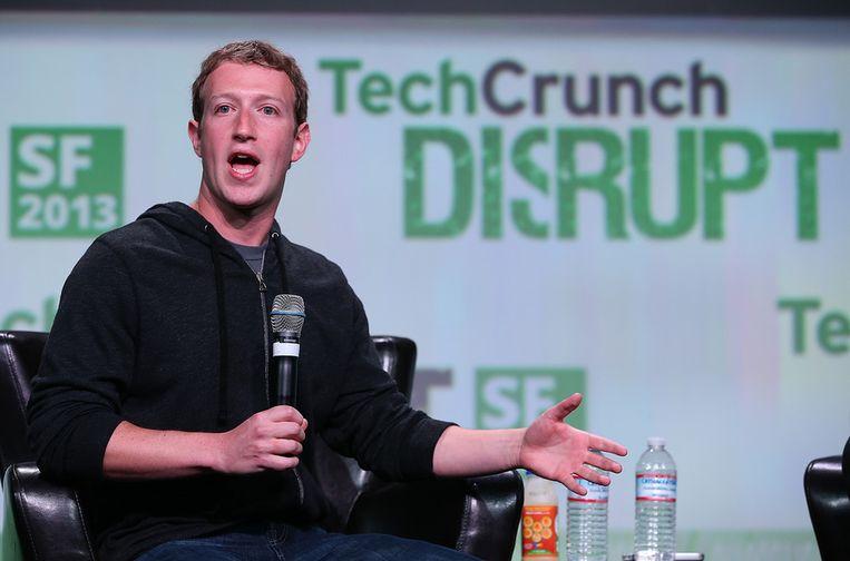 Facebook-oprichter en CEO Mark Zuckerberg tijdens de TechCruch Disrupt Conferentie. Beeld afp