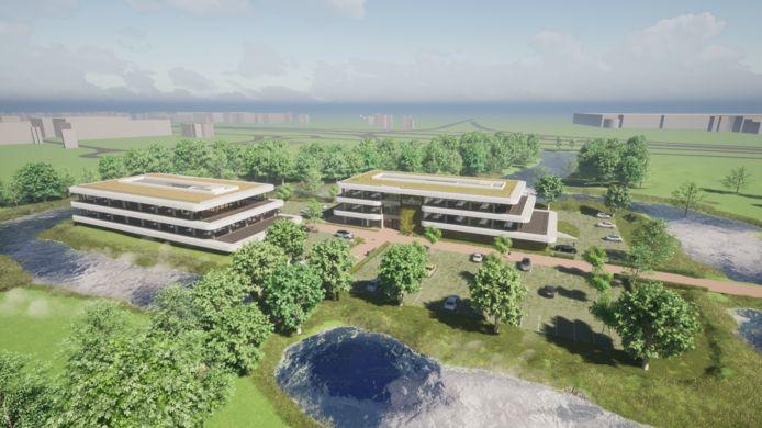 Een impressie van de gebouwen van de hightech campus, zoals die kan komen op landgoed Steenenburg in Drunen.