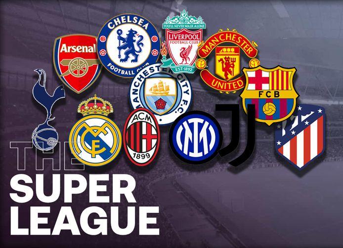 De 12 clubs uit de Super League.