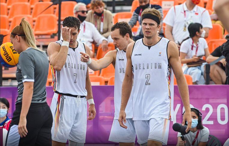 Belgische 3x3-basketballers tijdens de Olympische Spelen in Tokio. Beeld Photo News