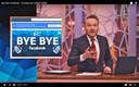 Arjen Lubach tijdens zijn programma 'Zondag met Lubach ' waarin hij onlangs opriep tot een massaal afscheid van Facebook.