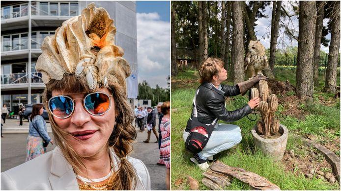 Kunstenares Iryna Akimova uit Ursel heeft uit een boomstam een hoed vervaardigd en die afgewerkt met pluimen van haar Siberische oehoe-uil. Rechts zie je een foto van Iryna en haar uil.