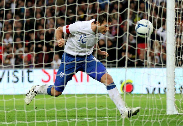 Lampard kopt de enige goal binnen in het oefenduel met Spanje. Beeld getty