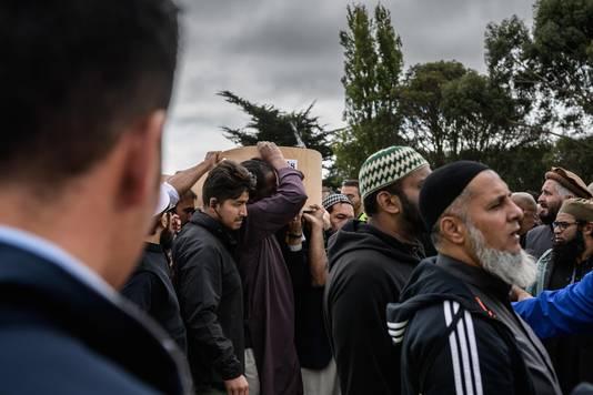 Begrafenis van Haji Mohammed Daoud Nabi, een van de slachtoffers van de aanslag op een moskee in Christchurch.