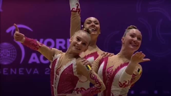 """Zilveren medaille voor Kim Bergmans, Lise De Meyts en Bo Hollebosch op WK acrogym: """"Op voorhand hadden we dit niet kunnen denken"""""""