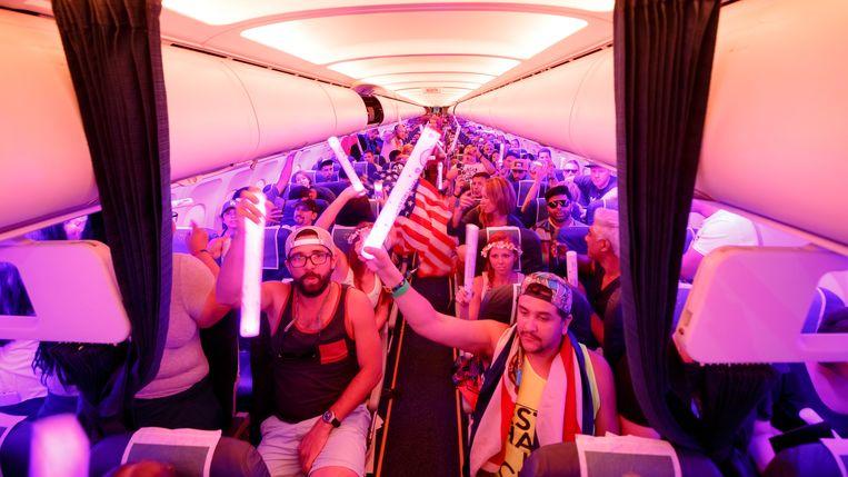 Een Tomorrowland-vlucht. Als er niets verandert aan hoe hoe toeschouwers naar optredens trekken, halen acties van artiesten niets uit.  Beeld RV Yves Vermeulen