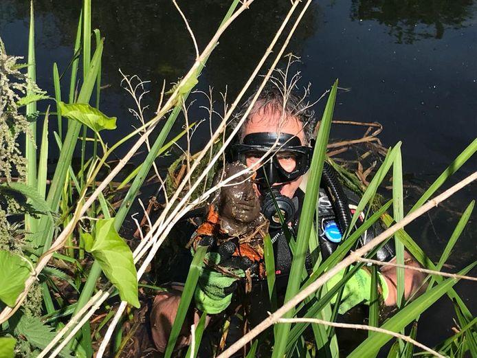 Nu is ook het hoofd uit het water gevist, de duiker moest 'goed wroeten'.