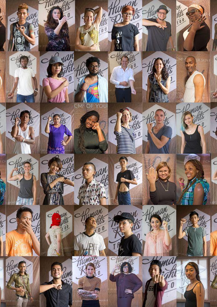 Verschillende deelnemers met hun letter.