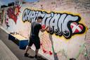 Op muurschilderingen in Kopenhagen kunnen Denen steunbetuigingen achterlaten voor Christian Eriksen.