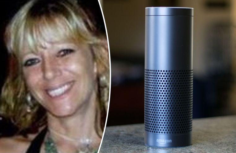 Slachtoffer Christine Sullivan. Rechts een foto van virtuele assistent Alexa.