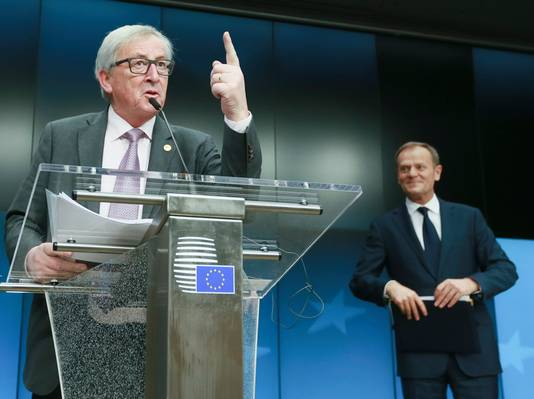 Jean-Claude Juncker (links) en Donald Tusk.