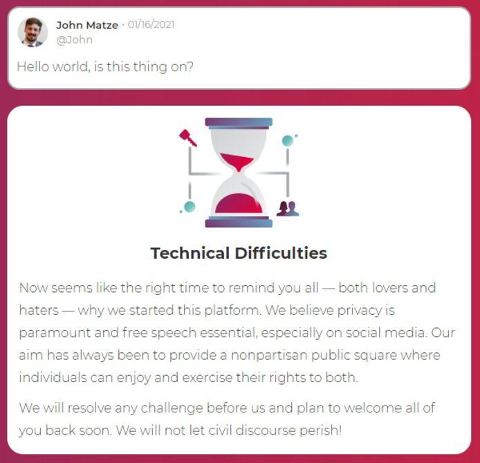 Parler-CEO John Matze postte zaterdag dit bericht, waarmee hij aankondigde dat het platform weer online zou komen.