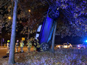 De bestuurder reed op de rotonde rechtdoor en parkeerde zijn wagen verticaal tegen een boom.