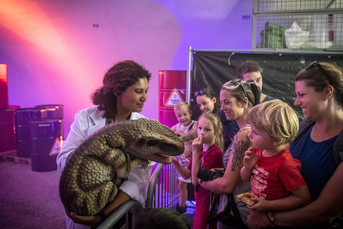 Op Dinopark Twente Airport mogen de jonge bezoekers ook een babydinosaurus aaien.