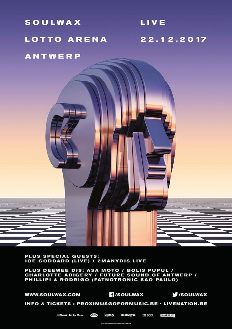 Affiche Soulwax in de Lotto Arena. Beeld Soulwax