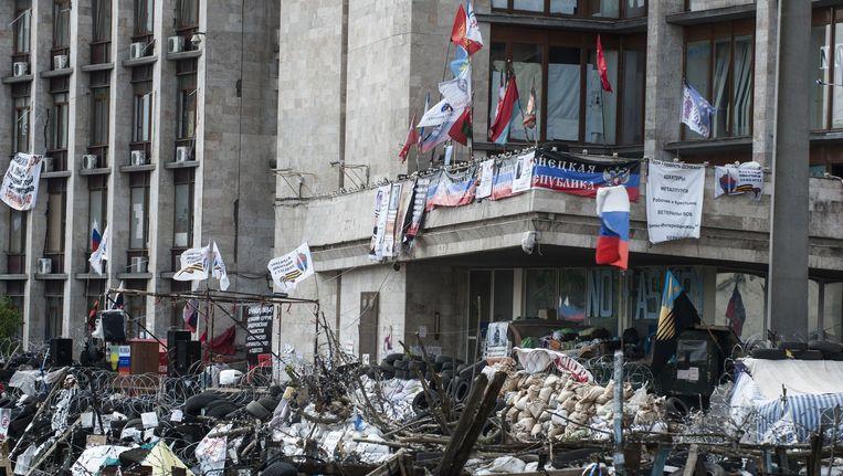 Pro-Russische activisten bezetten verschillende gebouwen in Donetsk, in het oosten van Oekraïne. Beeld ap