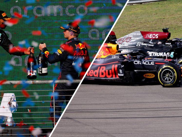 Bekijk hoe Verstappen concurrent Hamilton nipt voorblijft