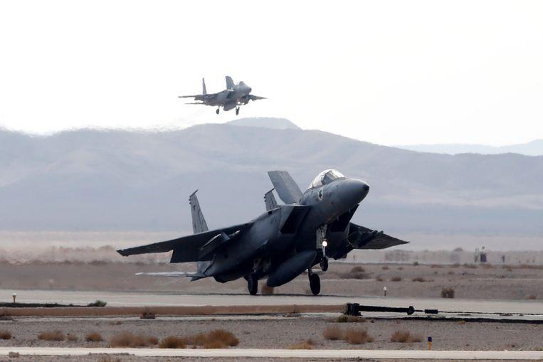 Israëlische F-16 gevechtsvliegtuigen. Beeld EPA