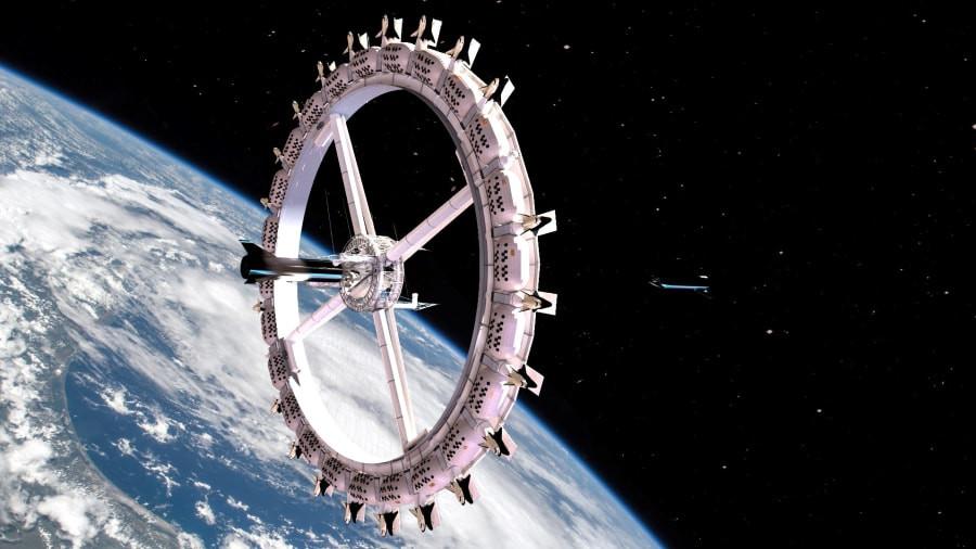 Het roterende wiel van het ruimtehotel zal bestaan uit 24 individuele pods.