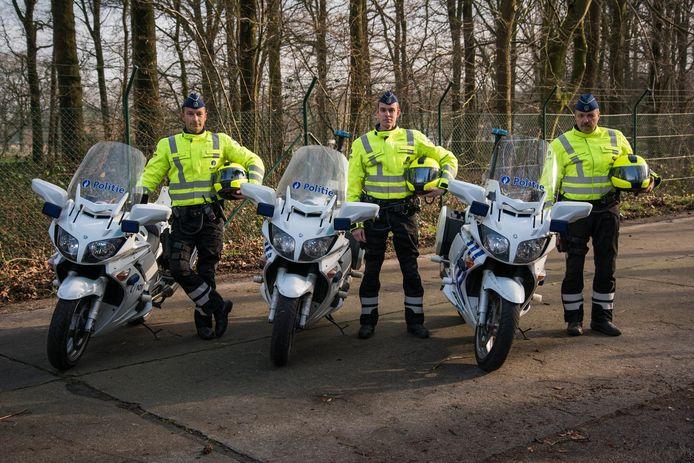 Een archiefbeeld van de motards van de politie Aalter.