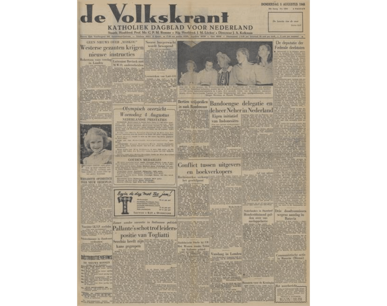 Voorpagina 5 augustus 1948. Beeld .