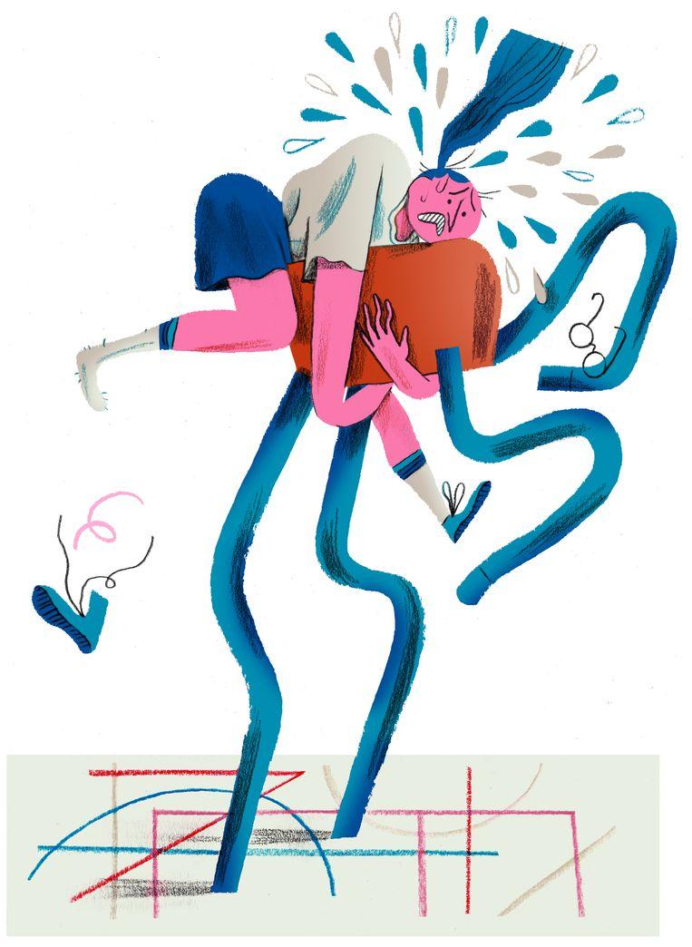 'Een van de redenen waarom de sprong over de bok niet lukt is angst', zegt Michel Vander Velpen, leerkracht lichamelijke opvoeding. Beeld Charlotte Dumortier