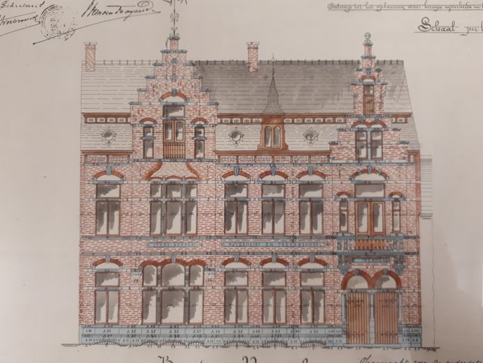 Het ontwerp voor de nijverheidsschool in de Baron de Pélichystraat.